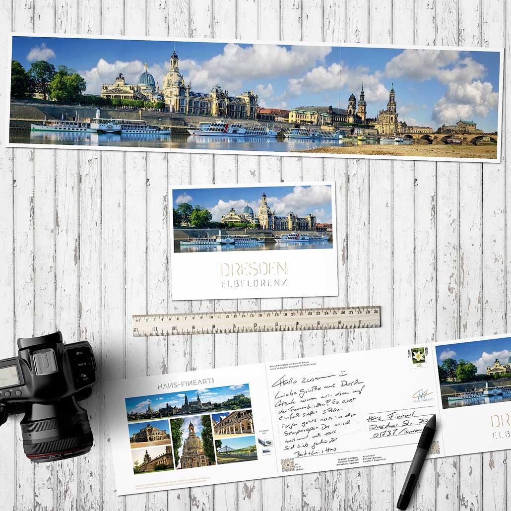 Panorama-Faltpostkarte Dresden Hans Fineart