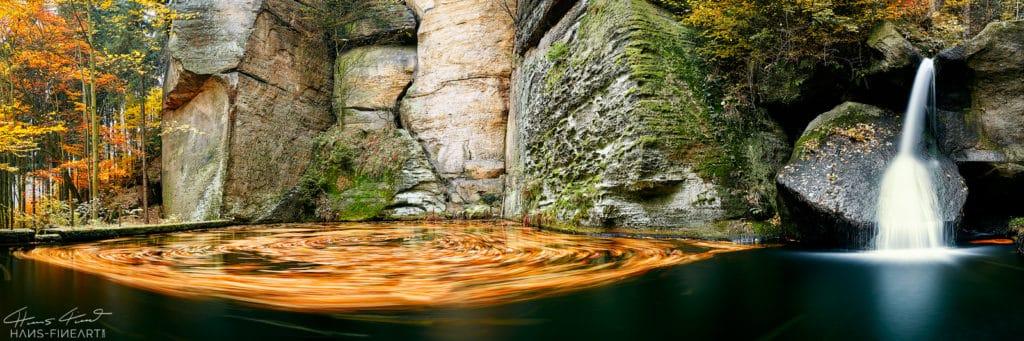 Sächsische Schweiz Elbsandsteingebirge Hans Fineart Gelobtbach Wasserfall