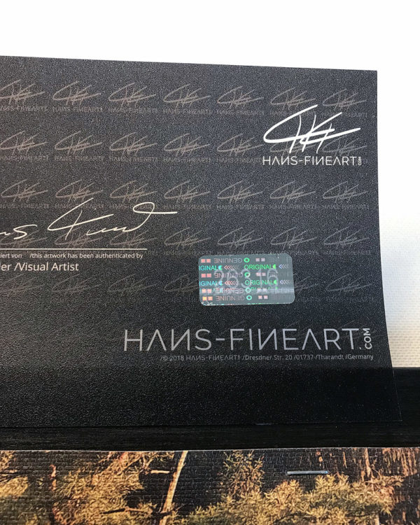 Hans Fineart Echtheitszerifikat