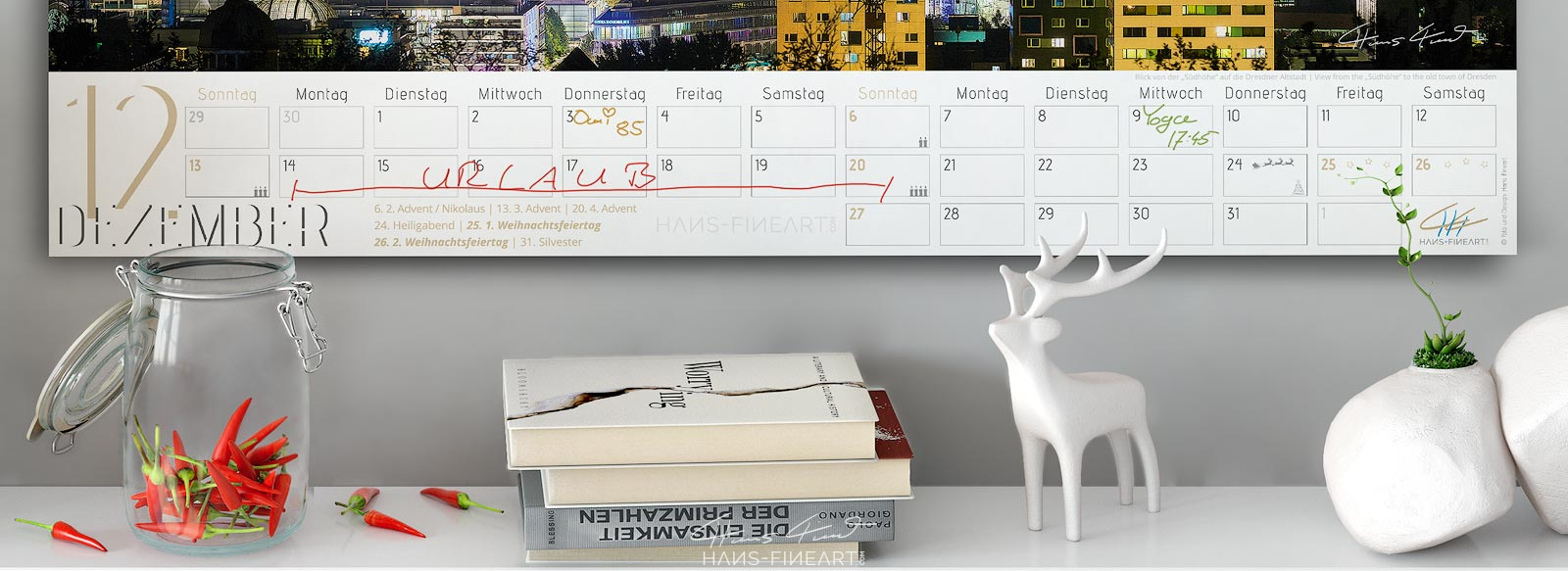 Monatsbild Dezember vom Wandkalender Dresden Im Wandel der Jahreszeiten 2020. Ansicht des beschreibbaren Kalendariums.