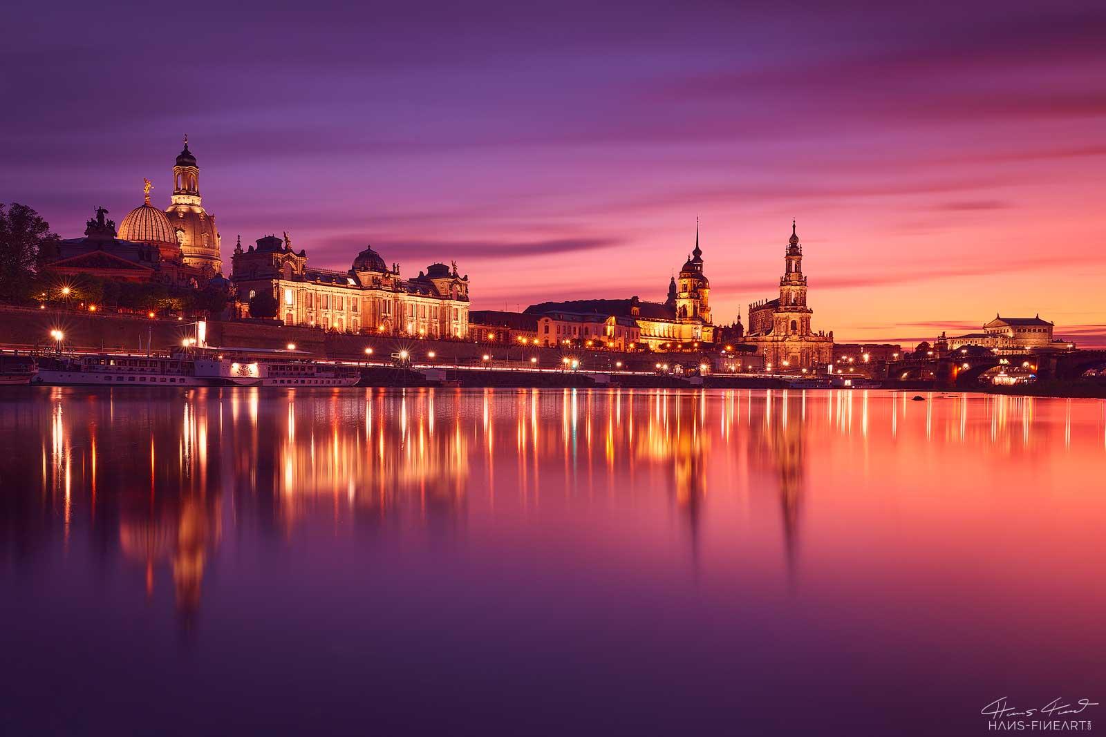Silhouette Dresden Skyline Hans Fineart Frauenkirche Sonnenuntergang