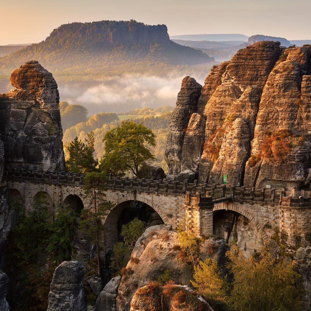 Sächsische Schweiz Elbsandsteingebirge Hans Fineart Basteibrücke Lilienstein